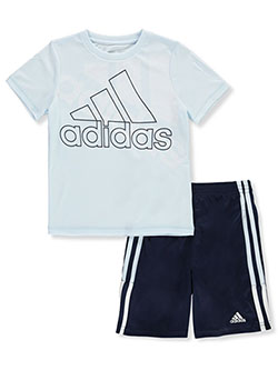 Boys' Hi-Contrast 2-Piece Shorts Set Outfit by Adidas in Medium wash