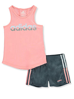 Girls' Tonal Logo 2-Piece Shorts Set Outfit by Adidas in Pink
