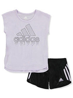 Girls' Dazzle 2-Piece Shorts Set Outfit by Adidas in Purple