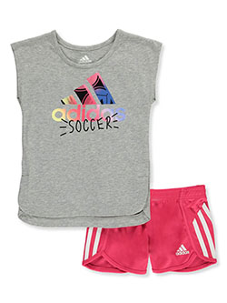 Cleat Cartoon 2-Piece Shorts Set Outfit by Adidas in gray and white