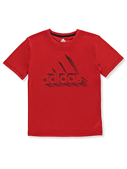Boys' Shadow Logo T-Shirt by Adidas in Red, Sizes 8-20