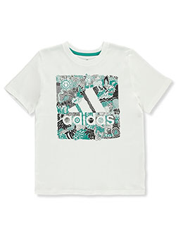 Boys' Running Wild Logo T-Shirt by Adidas in White, Sizes 8-20
