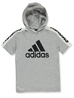 Boys' Short-Sleeved Hoodie by Adidas in Gray, Boys Fashion