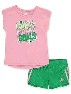 Girls' 2-Piece Shorts Set Outfit by Adidas in Multi, Girls Fashion