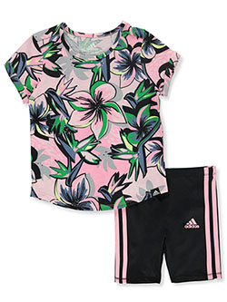 Girls' 2-Piece Bike Shorts Set Outfit by Adidas in Multi, Girls Fashion