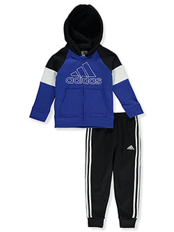 Blocked Fleece 2-Piece Joggers Set Outfit by Adidas in Royal blue