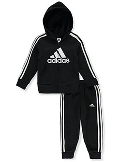 Classic Fleece 2-Piece Joggers Set Outfit by Adidas in Black