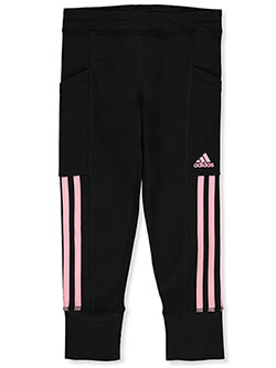 Girls' Stripe Joggers by Adidas in Black/red