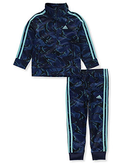 Boys' Allover Camo 2-Piece Sweatsuit Outfit by Adidas in Navy/multi
