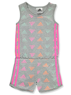 Girls' Allover Logo Romper by Adidas in Heather gray, Girls Fashion