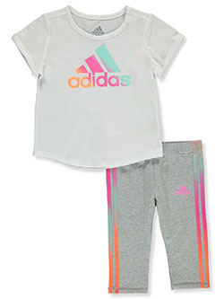 Girls' 2-Piece Leggings Set Outfit by Adidas in White, Infants