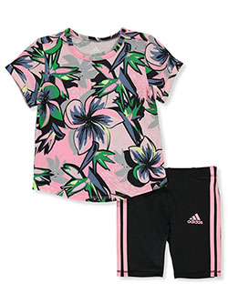 Baby Girls' 2-Piece Bike Shorts Set Outfit by Adidas in Light pink - $24.99