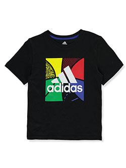 Boys' Square Logo T-Shirt by Adidas in Black, Boys Fashion