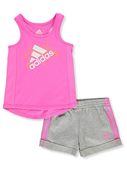 Baby Girls' 2-Piece Shorts Set Outfit by Adidas in Fuchsia, Infants