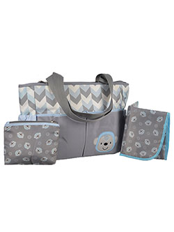 "Tender Kisses ""Zigzag Monkey"" Diaper Tote with Dirty Duds Pouch & Changing Pad - CookiesKids.com"