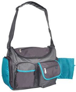 Deluxe Wide Opening Diaper Bag with Changing Pad by Fisher-Price in Gray/aqua
