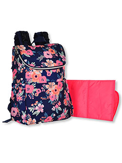 Floral Zip Flap Backpack Diaper Bag with Changing Pad by Baby Essentials in Pink