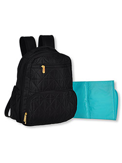 Diamond Quilt Backpack Diaper Bag with Changing Pad by Baby Essentials in Black
