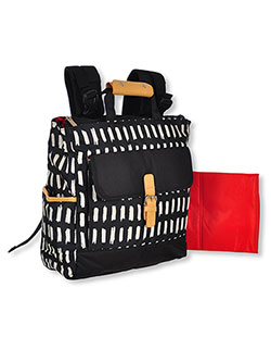 Graphic Streak Backpack Diaper Bag with Changing Pad by Baby Essentials in Black