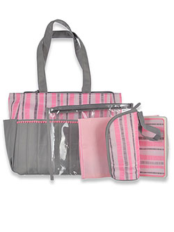 Baby Essentials Pom Pom-Trimmed Tote Diaper Bag with Changing Pad by Baby Esseentials in Pink/multi