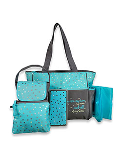 Stars 5-Piece Diaper Bag Set by Baby Essentials in Green/gray, Infants
