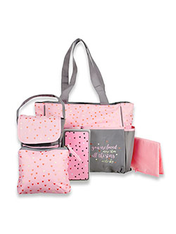 Stars 5-Piece Diaper Bag Set by Baby Essentials in Pink/gray