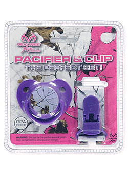 Pacifier & Clip Set by Realtree in Purple