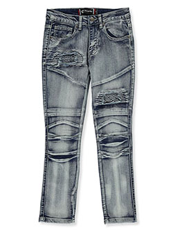 Boys' Rip-Patch Moto Jeans by Akademiks in Silver, Sizes 8-20