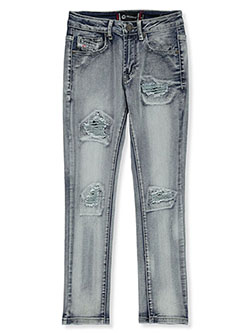 Boys' Rip-Patch Moto Skinny Jeans by Akademiks in Silver, Sizes 8-20
