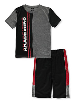 2-Piece Color Panel Shorts Set Outfit by Akademiks in Black, Sizes 8-20