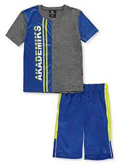 2-Piece Color Panel Shorts Set Outfit by Akademiks in Blue, Sizes 8-20