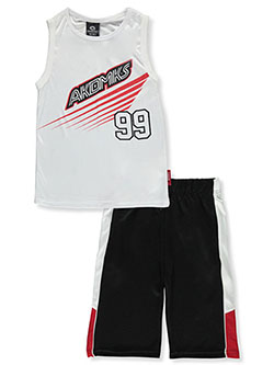 2-Piece Gifted Minds Shorts Set Outfit by Akademiks in White, Sizes 8-20