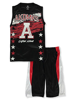 2-Piece Gifted Minds Shorts Set Outfit by Akademiks in Black, Sizes 8-20