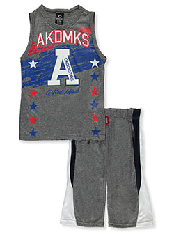 2-Piece Gifted Minds Shorts Set Outfit by Akademiks in Gray, Sizes 8-20