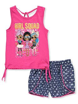 Girls' 2-Piece Shorts Set Outfit by Real Love in Pink