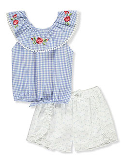 Girls' 2-Piece Shorts Set Outfit by My Destiny in Blue