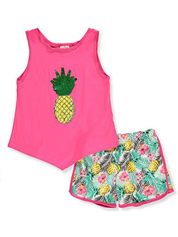 Girls' 2-Piece Shorts Set Outfit by My Destiny in Fuchsia/multi - Short Sets