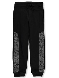 Boys' Crackled Trim Fleece Joggers by Quad Seven in black and dark gray, Sizes 4-7