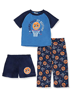Game Face at Bedtime 3-Piece Pajamas by Mon Petit in blue/navy and navy/gray, Infants