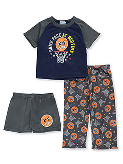 Game Face at Bedtime 3-Piece Pajamas by Mon Petit in blue/navy and navy/gray