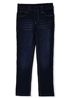 Girls' Whiskered Jeggings by Real Love in dark denim and light denim, Girls Fashion