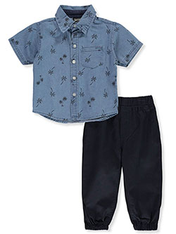 Chambray Palm Trees 2-Piece Pants Set Outfit by Quad Seven in Light blue/navy