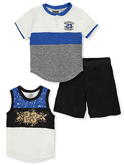 23 Authentic 3-Piece Shorts Set Outfit by Quad Seven in blue/multi and red/multi, Infants