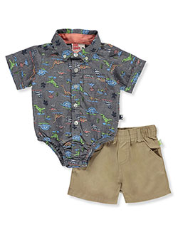 Buttoned Dinosaur 2-Piece Shorts Set Outfit by DDG Sport in gray/khaki and khaki/coral - Short Sets