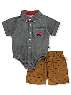 Moustache 2-Piece Shorts Set Outfit by Dog Sport in black/brown and navy/khaki - Short Sets