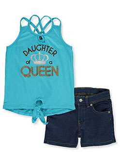 Daughter of a Queen 2-Piece Shorts Set Outfit by Real Love in Turquoise - Short Sets