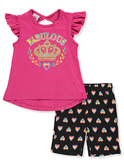 Fabulous Crown 2-Piece Bike Shorts Set Outfit by Real Love in fuchsia and turquoise, Girls Fashion