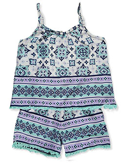 Girls' Tasseled Overlay Romper by Real Love in lavender/multi and mint multi
