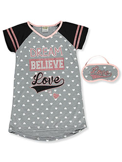 Dream Believe Love Nightgown with Sleep Mask by Sweet N Sassy in Gray multi