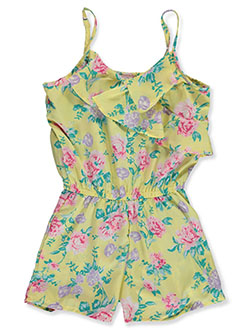 Girls' Asymmetric Floral Flounce Romper by Real Love in Yellow multi